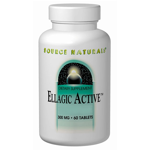 Ellagic Active, Raspberry Extract 300mg 40% Ellagitannins 60 tabs from Source Naturals