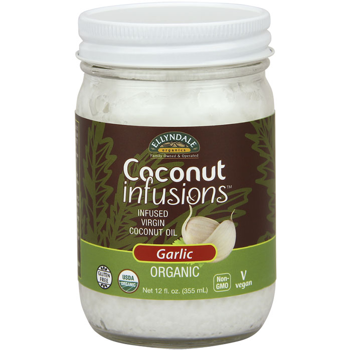 Ellyndale Organic Coconut Infusions - Garlic, 12 oz x 6 Bottles, NOW Foods