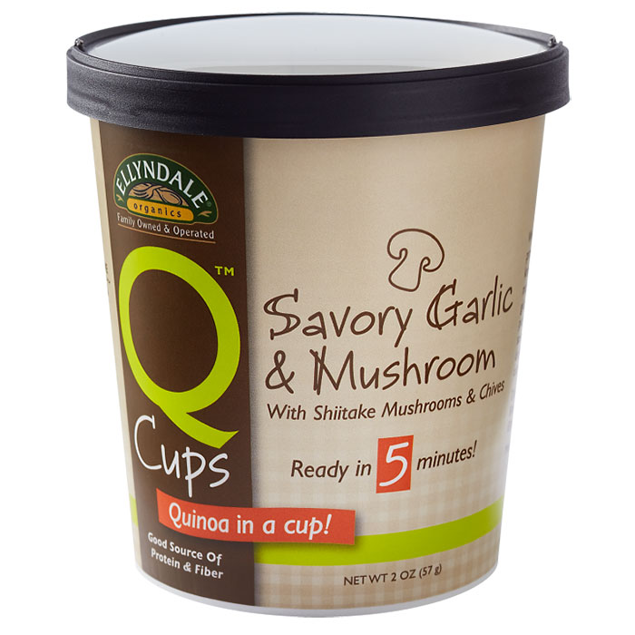 Image of Ellyndale Q Cups Quinoa Savory Garlic & Mushroom, 2 oz x 6 Cups, NOW Foods