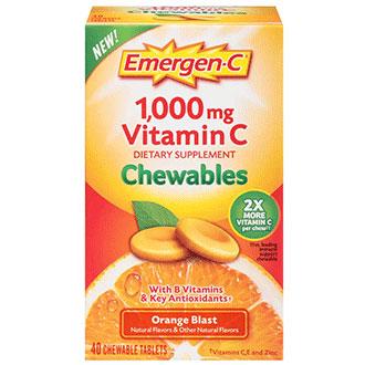 Emergen-C Chewables - Orange Blast, 40 Chewable Tablets, Alacer