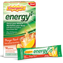 Emergen-C Energy+ Drink Mix - Mango Peach, 18 Packets, Alacer