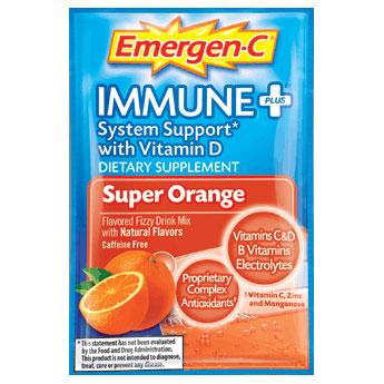 Emergen-C Immune + Super Orange, Caffeine-Free Drink Mix, 30 Packets, Alacer