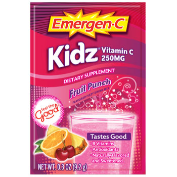 Emergen-C Kidz Fruit Punch Drink Mix for Kids, 250 mg Vitamin C, 30 Packets, Alacer