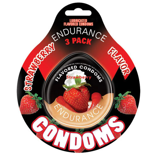 Endurance Condoms - Strawberry Flavored, 3 Pack Discs, Hott Products