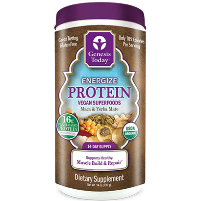 Energize Protein Organic, Maca & Yerba Mate, 14 oz Canister, Genesis Today