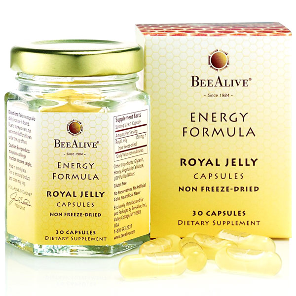 BeeAlive Energy Formula Royal Jelly Capsules, 30 Capsules, Bee Alive