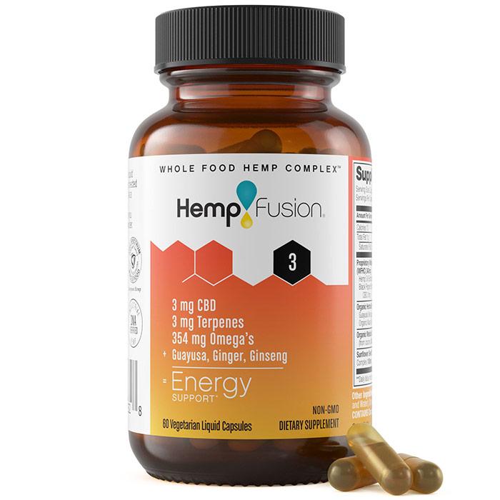 Energy Hemp Extract Vegetarian Liquid Capsules, 2 Capsules x 12 Packets, HempFusion