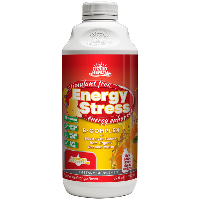 Energy & Stress Liquid Supplement, 32 oz, Liquid Health