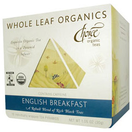 Whole Leaf Organics, English Breakfast, 15 Tea Bags, Choice Organic Teas