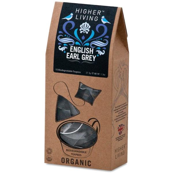 Organic English Earl Grey Tea, 15 Biodegradable Teapees, Higher Living