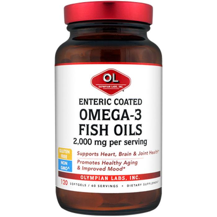 Enteric Coated Omega 3 Fish Oils 1000mg, 120 Softgels, Olympian Labs