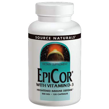 EpiCor with Vitamin D-3, 60 Capsules, Source Naturals