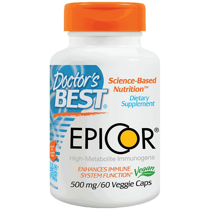 EpiCor 500 mg, Dried Yeast Fermentate, 60 Veggie Caps, Doctors Best