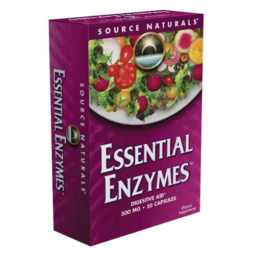 Essential Enzymes 500 mg Blister Pack Travel Size, 30 Capsules, Source Naturals