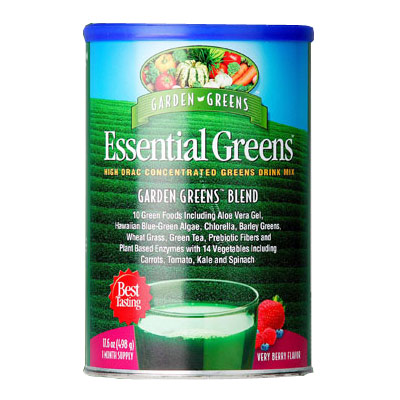 Essential Greens, Super ORAC Concentrated Greens Drink Mix, Very Berry Flavor, 498 g, Garden Greens