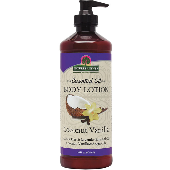 Essential Oil Body Lotion - Coconut Vanilla, 16 oz, Nature's Answer