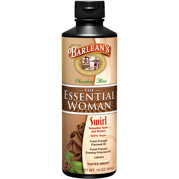 The Essential Woman Swirl Liquid, Chocolate Mint (Omega 3/6/9), 16 oz, Barleans Organic Oils