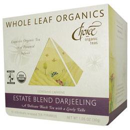 Whole Leaf Organics, Estate Blend Darjeeling, 15 Tea Bags, Choice Organic Teas