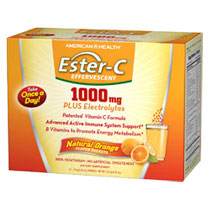 Ester-C Effervescent Powder, Natural Orange Flavor, 21 Packets, American Health