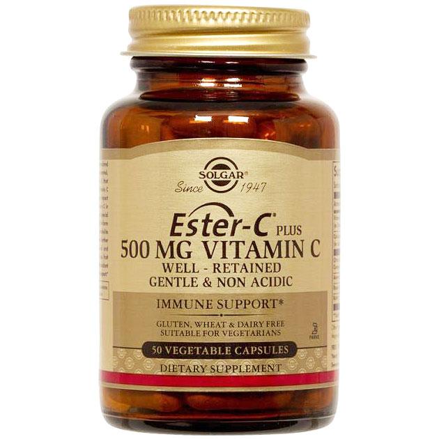 Ester-C Plus 500 mg Vitamin C (Ester-C Ascorbate Complex), 50 Vegetable Capsules, Solgar