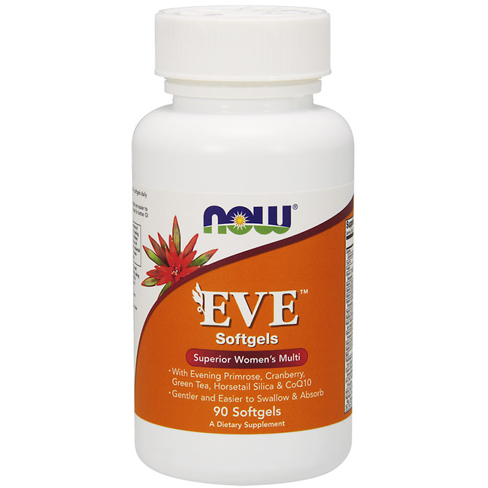 Eve Womens Multiple Vitamin Softgels, Easier to Swallow, 90 Softgels, NOW Foods