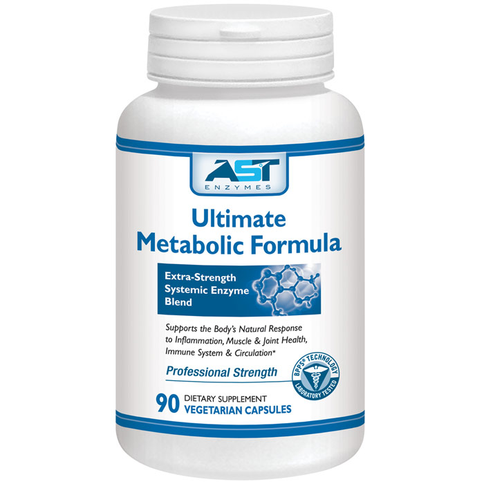 Ultimate Metabolic Formula, Extra-Strength Systemic Enzyme Blend, 90 Vegetarian Capsules, AST Enzymes