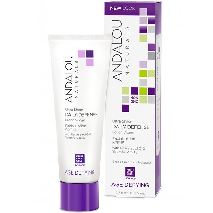 Ultra Sheer Daily Defense Facial Lotion with SPF 18, 2.7 oz, Andalou Naturals