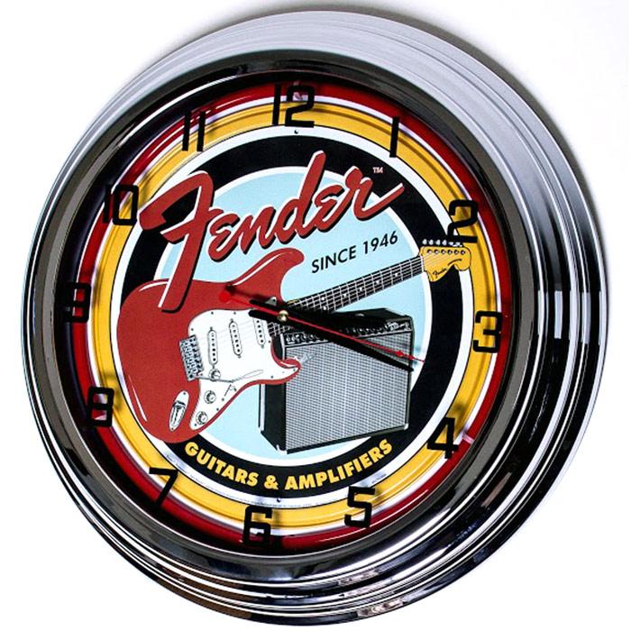 Image of Fender Guitars 17 Inch Red Neon Clock