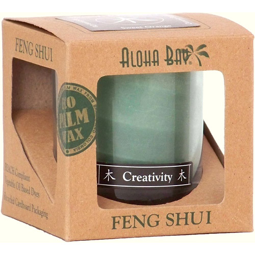 Feng Shui Jar Candle in Gift Box, with Pure Essential Oils, Wood Creativity (Green), 2.5 oz, Aloha Bay
