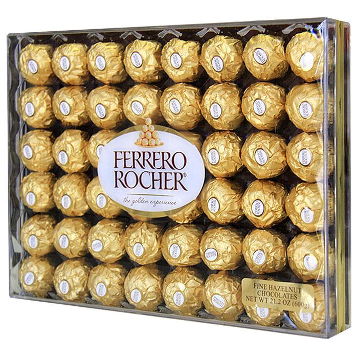 Ferrero Rocher Diamond Gift Box, Fine Hazelnut Chocolates, 48 Pieces (600 g)