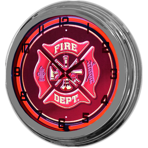 Image of Fire Department 17 Inch Red Neon Wall Clock