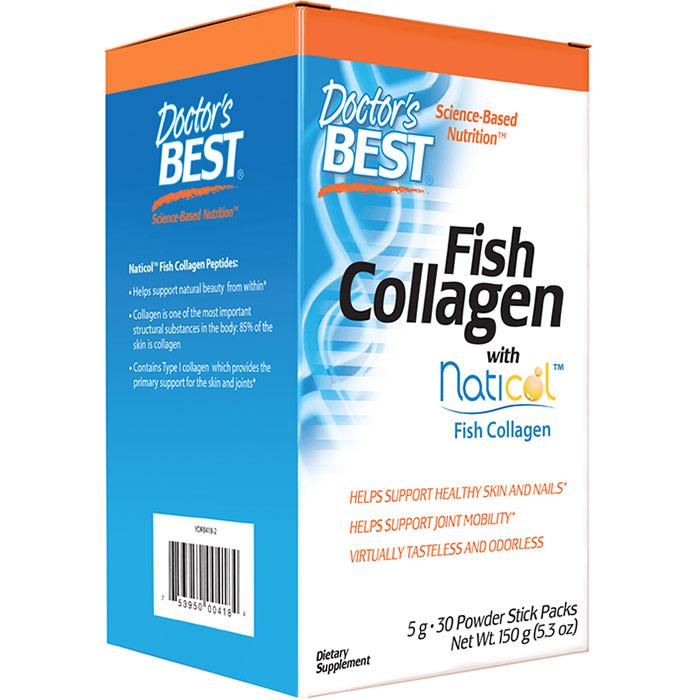Fish Collagen Powder with TruMarine Collagen, 30 Stick Packs, Doctors Best