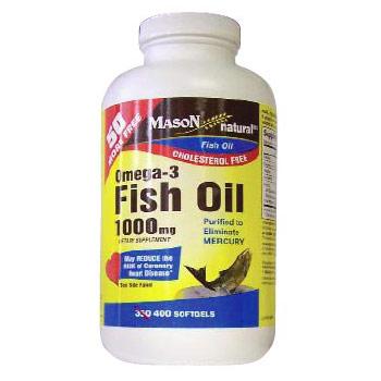 Omega 3 Fish Oil 1000 mg, 400 Softgels, Mason Natural
