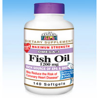 Fish Oil 1200 mg, Omega-3, 140 Softgels, 21st Century HealthCare