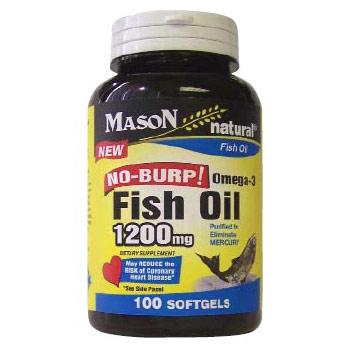 No Burp! Omega-3 Fish Oil 1200 mg, 100 Softgels , Mason Natural