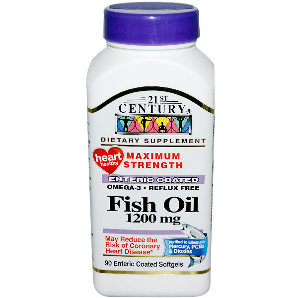 Fish Oil 1200 mg, 90 Enteric Coated Softgels, 21st Century HealthCare