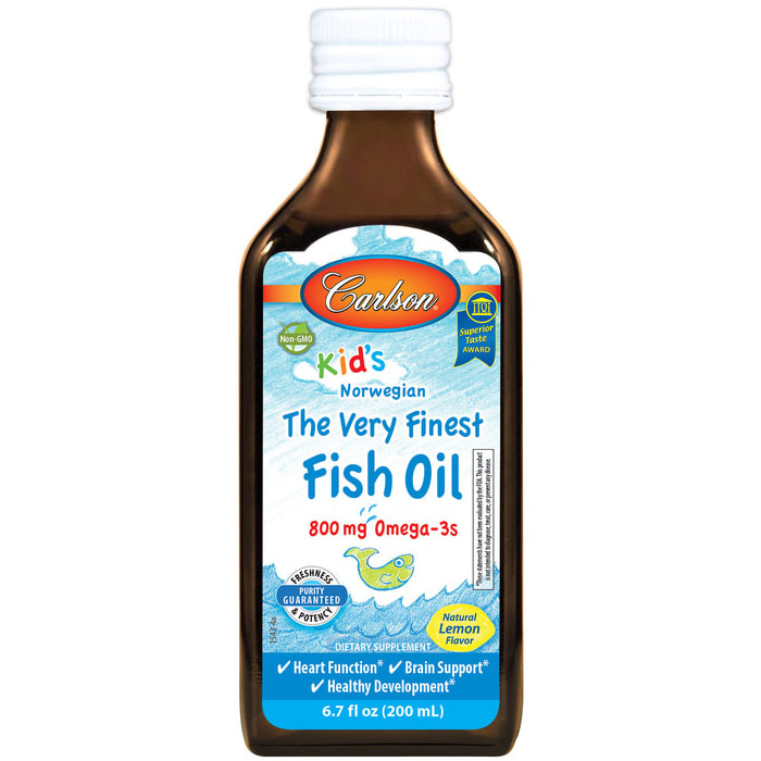Fish Oil Liquid for Kids, Lemon Flavor, 200ml, Carlson Labs