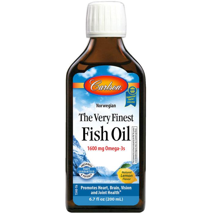 The Very Finest Fish Oil Liquid, Lemon Flavor, 200ml, Carlson Labs