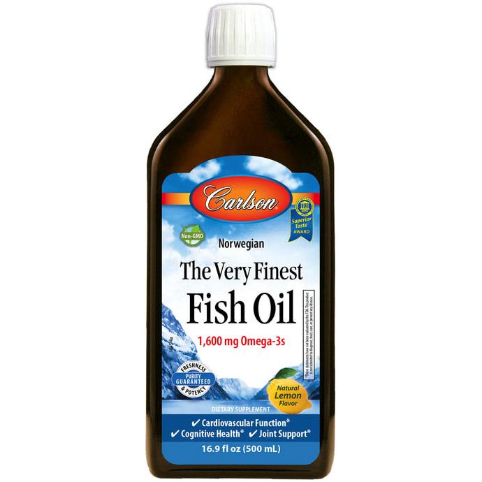 Fish Oil Liquid Omega 3 DHA & EPA, Lemon Flavor, 500ml, Carlson Labs