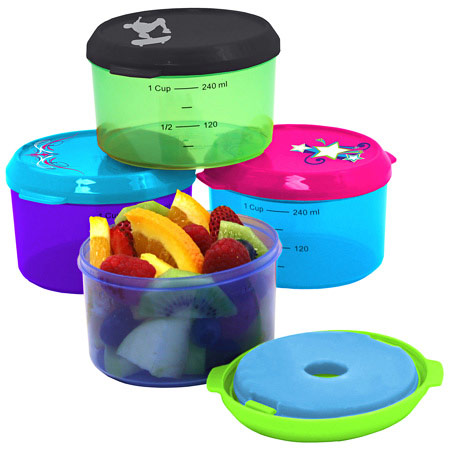 Fit & Fresh Kids Lunch Bowl, Smart Portion 1 Cup Chill Container, Assorted Color, VitaMinder
