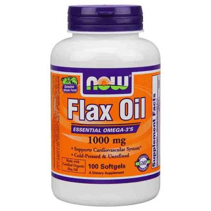 Flax Oil 1000mg, Organic Flax Oil 100 Softgels, NOW Foods