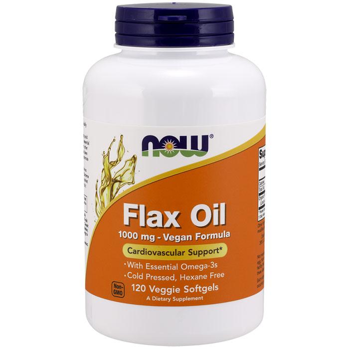 Flax Oil 1000 mg Vegan Formula, 120 Veggie Softgels, NOW Foods