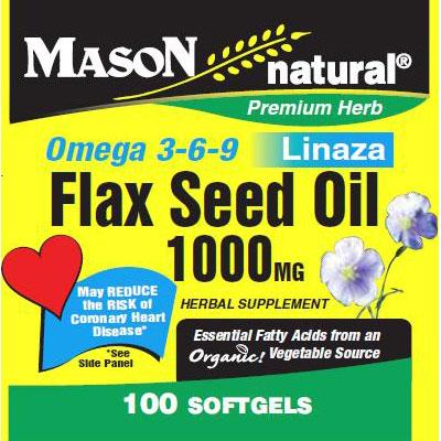 Flax Seed Oil 1000 mg, 100 Softgels, Mason Natural