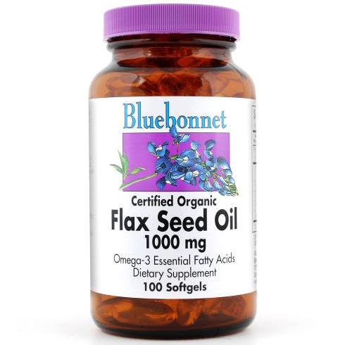 Flax Seed Oil 1000 mg, Certified Organic, 100 Softgels, Bluebonnet Nutrition