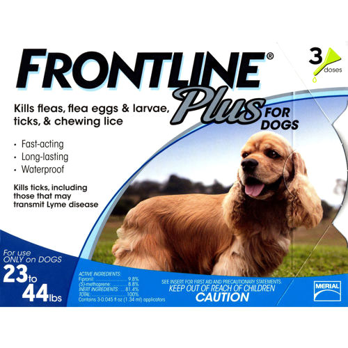 Flea and Tick Drops For Dogs 23lbs-44lbs, 3 Month Supply, Frontline Plus