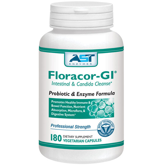 Floracor-GI, Probiotic & Enzyme Formula, 180 Vegetarian Capsules, AST Enzymes