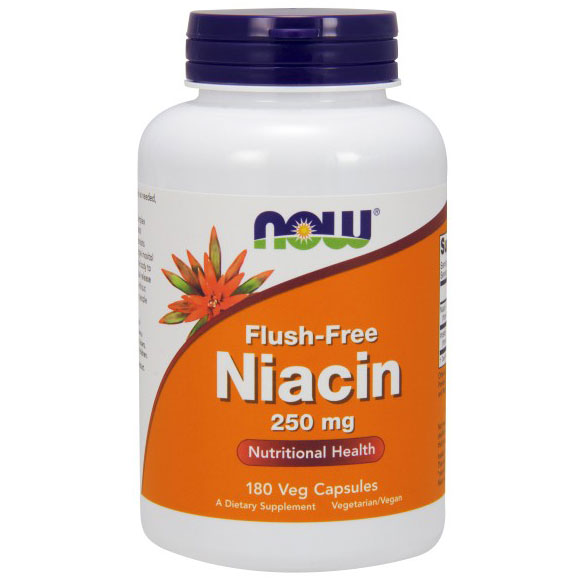 Flush-Free Niacin 250mg 180 Vcaps, NOW Foods