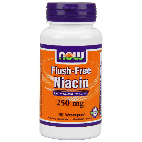 Flush-Free Niacin 250mg 90 Vcaps, NOW Foods