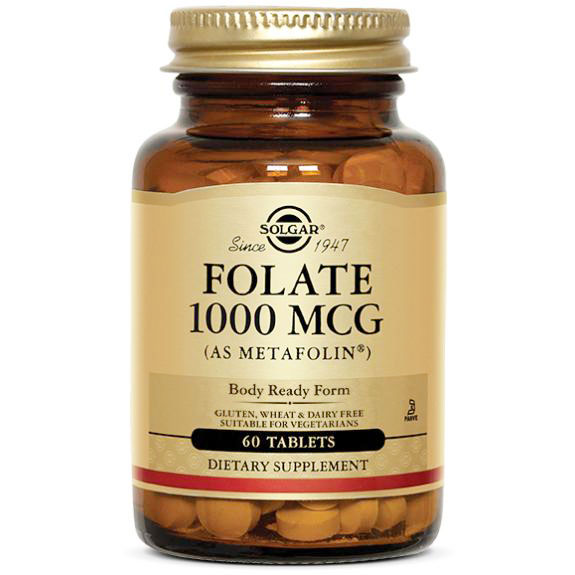 Folate 1000 mcg as Metafolin, 120 Tablets, Solgar