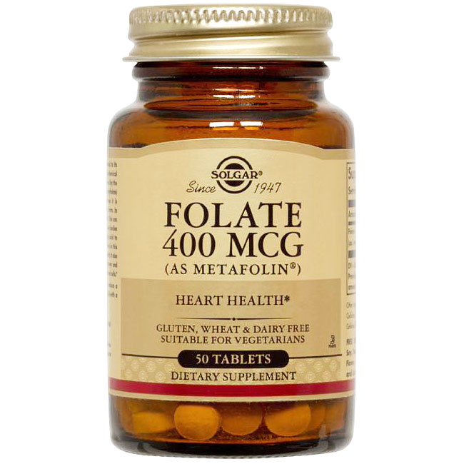 Folate 400 mcg (as Metafolin), 100 Tablets, Solgar